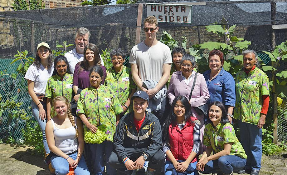 Clark University students with urban farmers and college students from Bogota, Colombia