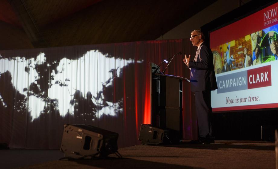 President David Angel giving presentation