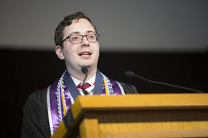 Andrés Gvirtz speaking at commencement