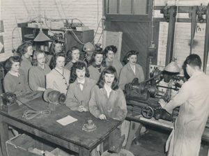 historical photo with woman in factory setting