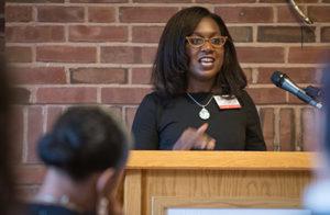 Sheree Marlowe speaking to audience