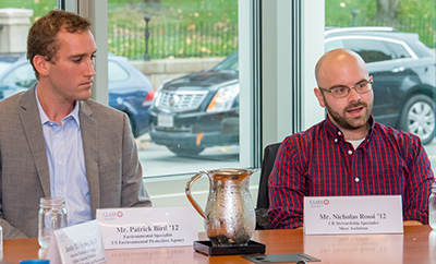 Patrick Bird, M.B.A./ES&P '12, left, and Nicholas Rossi '12, M.S./ES&P '13 speak at a recent ClarkCONNECT panel discussion focused on environmental science.