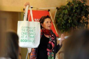 Sharon Rowe holding a bag
