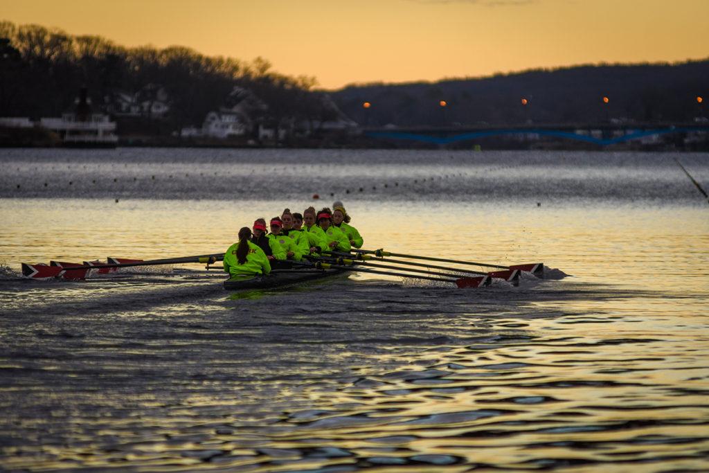 Clark crew team practices on Lake Quinsigamond