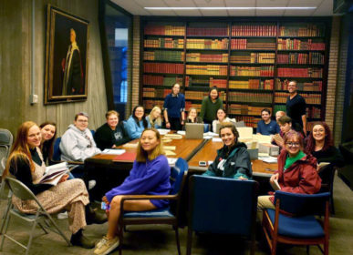 Professor Robert Tobin and students in the Clark Rare Book Room