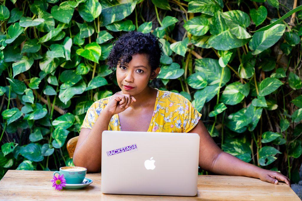 Mita Carriman with computer