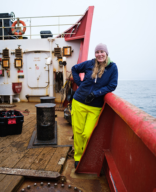 Onboard the CCCS Sir Wilfrid Laurier, Professor Karen Frey waits to deploy her instruments into the Bering Sea.