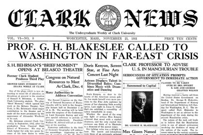Front page of Nov. 25, 1931 Clark News