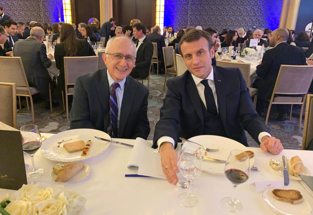 Taner Akcam with French President Emmanuel Macron